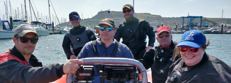 Dive club members on a club trip from Portland, Dorset